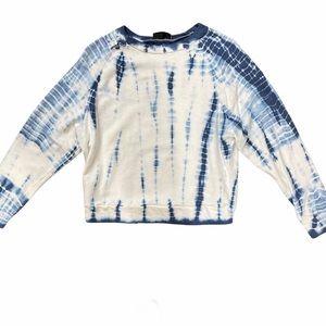 VICI Blue White Tie Dye Cropped Sweatshirt Size M